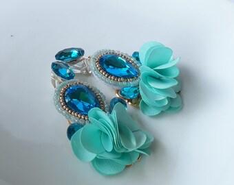 Blue earrings, baby blue earrings, light blue, blue tassel earrings, crystal earrings, tassel earrings, beads earrings, statement earrings
