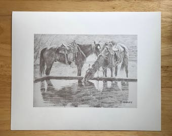 Horses at the watering trough