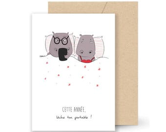 Animals Hippo birthday or greeting cards