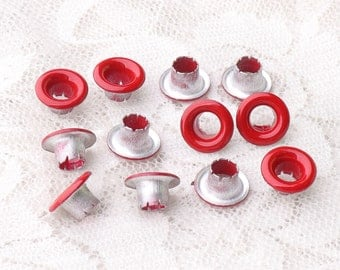 Eyelets Metal Eyelets red color 100pcs 9*4*5mm for Bead Cores, Clothes, Leather, Canvas, Shoes Making