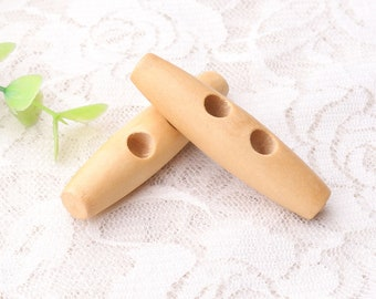 Wood toggle button 50*12*6mm natural wooden buttons 2 hole buttons 4pcs
