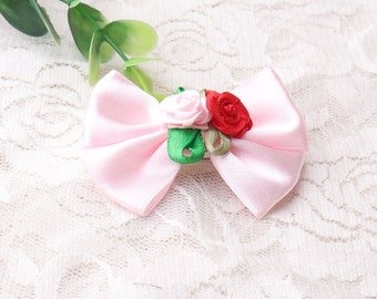 red and pink rose pink bow ties bowknot bar pins fabric bowties for brooch pins hair accessories hair clip 2pcs