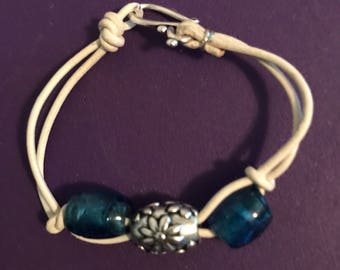 White blue large beads