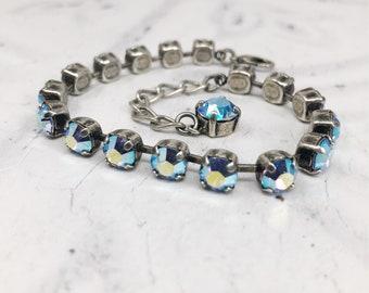 Small Crystal Tennis Bracelet, Light Sapphire AB Crystal Bracelet, Swarovski Bracelet, Bridesmaid Bracelet, Bridesmaid Gift