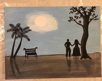 Moonlight Love - 11x14 Original Hand Painting on Canvas by Jan Stephens - Wall Art - Painting - Picture - Family