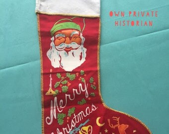 Vintage 1930s Christmas Stocking - Santa Claus - Merry Christmas