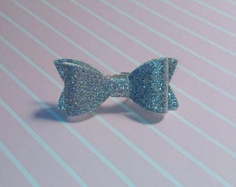 Glitter Bow Ring, Adjustable Silver Plated