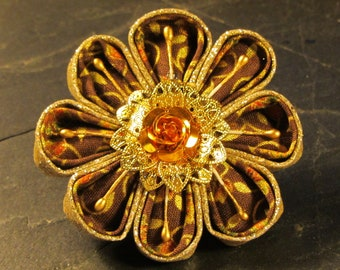 sequin fabric flower pin brooch