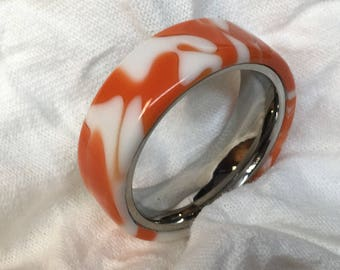 Orange and White Acrylic Ring