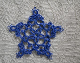 Hand Tatted Blue Doily
