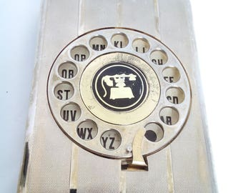 Vintage Eagle Phone Telephone address book Rotary Dial Pop Up Desktop silver and gold Phonebook Eagle 957183 Retro 1970s