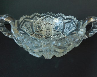 Vintage Depression Glass Berry Bowl Two Handle/Candy Dish/Imperial Glass Pattern Diamond and Fans