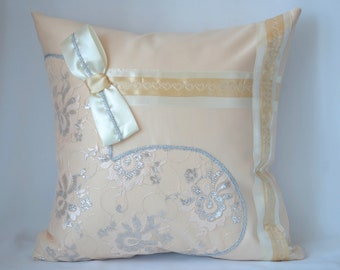 Beige decorative pillow for couch, Throw pillow cover 16x16 Pillow with applique heart Pillow gift for woman Decorative Cushion with a bow