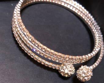 Silver Rhinestone Wrap around Bracelet