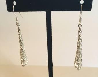 Silver woven earring