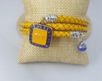 Sigma Gamma Rho- Twisted Leather Wrap Bracelet