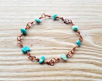 Amazonite Natural Stone Chip Wire Wrapped Link Bracelet