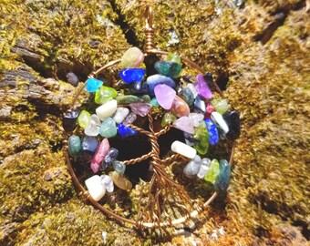 """Custom Birthstone Tree of Life """"Scattered"""" Pendant or Suncatcher"""