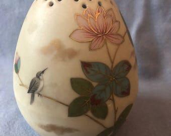 Vintage Victoria Carlsbad Austria porcelain Muffineer, sugar shaker, egg hat pin holder, floral design