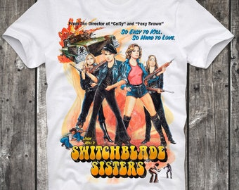 T-Shirt Switchblade Sisters Sexy Girl Pin Up Cult Movie Sexploitation Russ Meyer Pink Film Retro Vintage