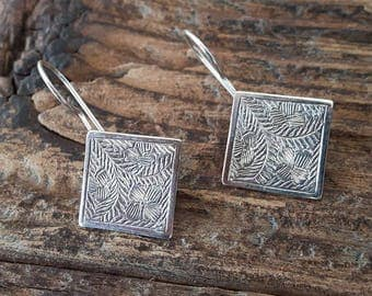 Silver etched diamond earrings