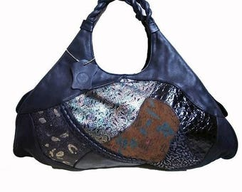 Fiber Street VINTAGE! leather art! rare vintage 80s special leather and design beautiful bag
