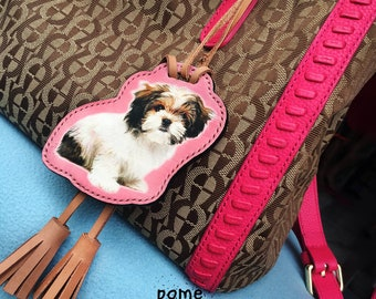 Cute bag charm vachetta leather
