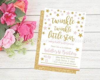 Pink and Gold Birthday-1st Birthday-Little Girls First Birthday-Printable Invitation
