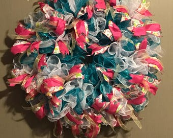 Turquoise blue and white deco mesh wreath