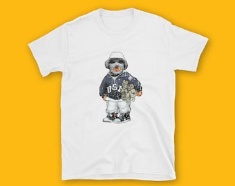 BEAR WITH MASK Short-Sleeve Unisex T-Shirt, Teddy Bear tshirt, fashion, unisex, couple t-shirt