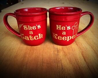 Couple's Mugs She's a Catch He's a Keeper
