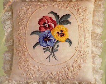Candamar Designs Something Special Candlewicking Embroidery Pansies Pillow