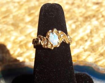 14k Opal & Diamond Ring Size 6