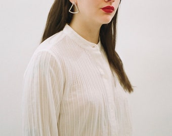 White Pin tuck Button up Blouse