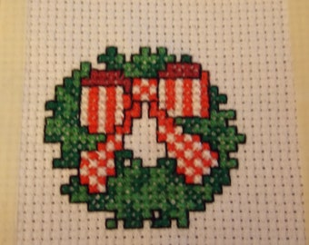 Miniature counted cross-stitch Holiday wreath