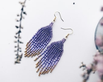 Beaded navajo earrings - Purple, lilac and gold
