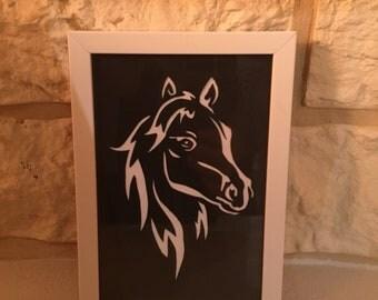 """""""Horse head"""" cut paper silhouette / paper cut"""