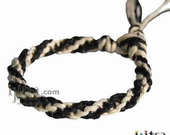 Natural and Black Hemp Round Bracelet or Anklet