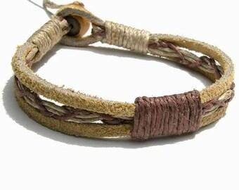 Tan Leather Brown Hemp Bracelet or Anklet