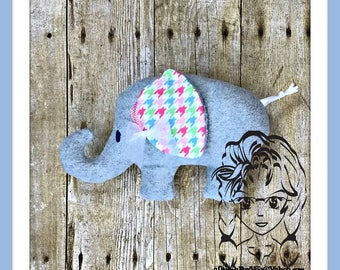 ELEPHANT ~ 3D Plush Softie Toy ~ In the Hoop ~ Downloadable DiGiTaL Machine Embroidery Design by Carrie