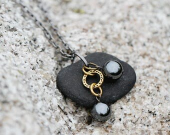 Long stone pendant necklace   Beach necklace for woman   Beach stone necklace for her   Boho necklace   Black stone necklaces for woman   JN