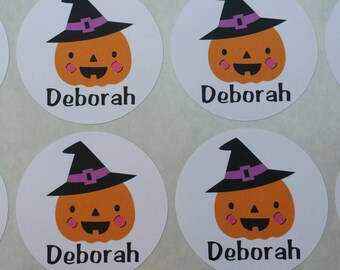 Personalized Pumpkin Witch Stickers for Back to School, Name labels, cards, etc set of 20