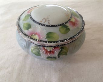 Japanese Hair Receiver Hairpin Moriage ReliefCovered Pin Dish 1940s Hand Painted