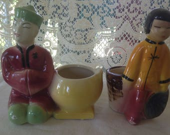 Vintage Royal Copley Chinese/ Asian Man Woman Novelty Planters Vases Mid Century Bungalow Kitchen Boy Girl Costumes USA