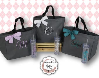 Tote and Tumbler Set, Bridesmaid Gifts, Bridesmaid Bags, Skinny Tumblers, Bridesmaids Totes and Tumbler Set, Bridal Party Gift, Wedding Bag