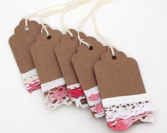 5 Shabby Pink Tags - Mixed Media Tags - Vintage Lace Tag - Vintage Tags - Hang Tags - kraft lace rustic gift tag embellished tag