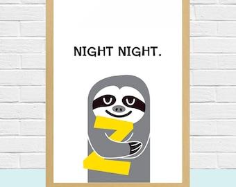 Printable GRAY SLOTH Goodnight Print For Kids Room Sloth Poster Cute Animal Wall Art Print Sloth Art Colorful Illustration Nursery Decor