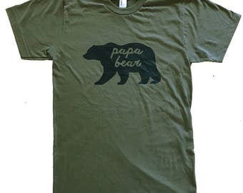 Papa Bear Military Green T-shirt - (Available in sizes S, M, L, XL)