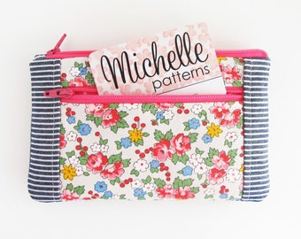 Double Zipper Pouch Mini Wallet | Floral fabric zipper wallet pouch with two zip pockets.