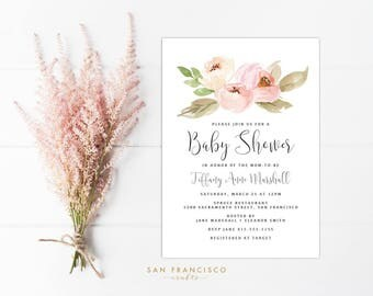 Pink Baby Shower Invitation INSTANT DOWNLOAD |  Editable Baby Shower Invite Template | watercolor, blush pink | Tiffany Collection | PDF